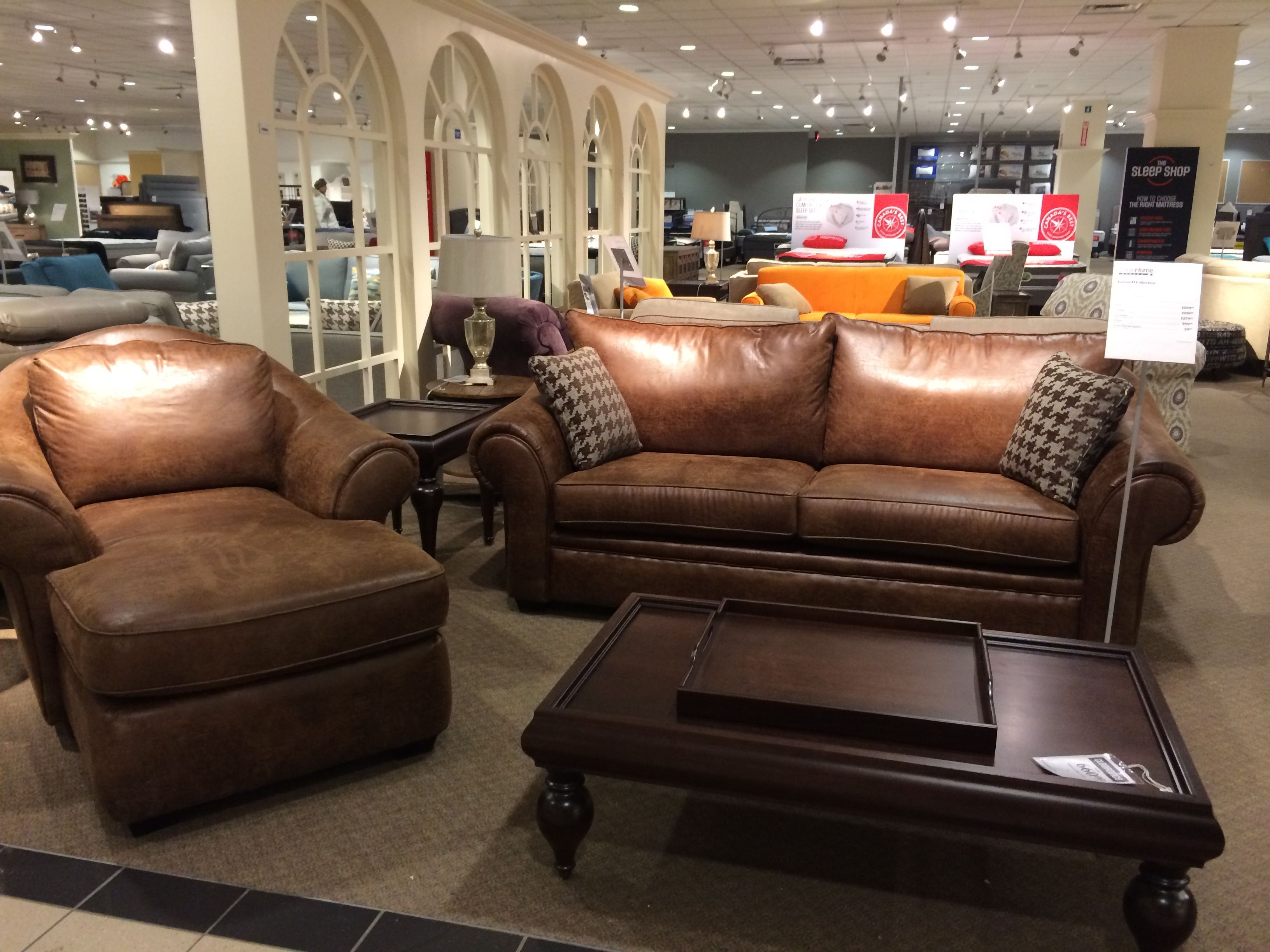 Restoration Hardware in store display. The leather couch and chair ...