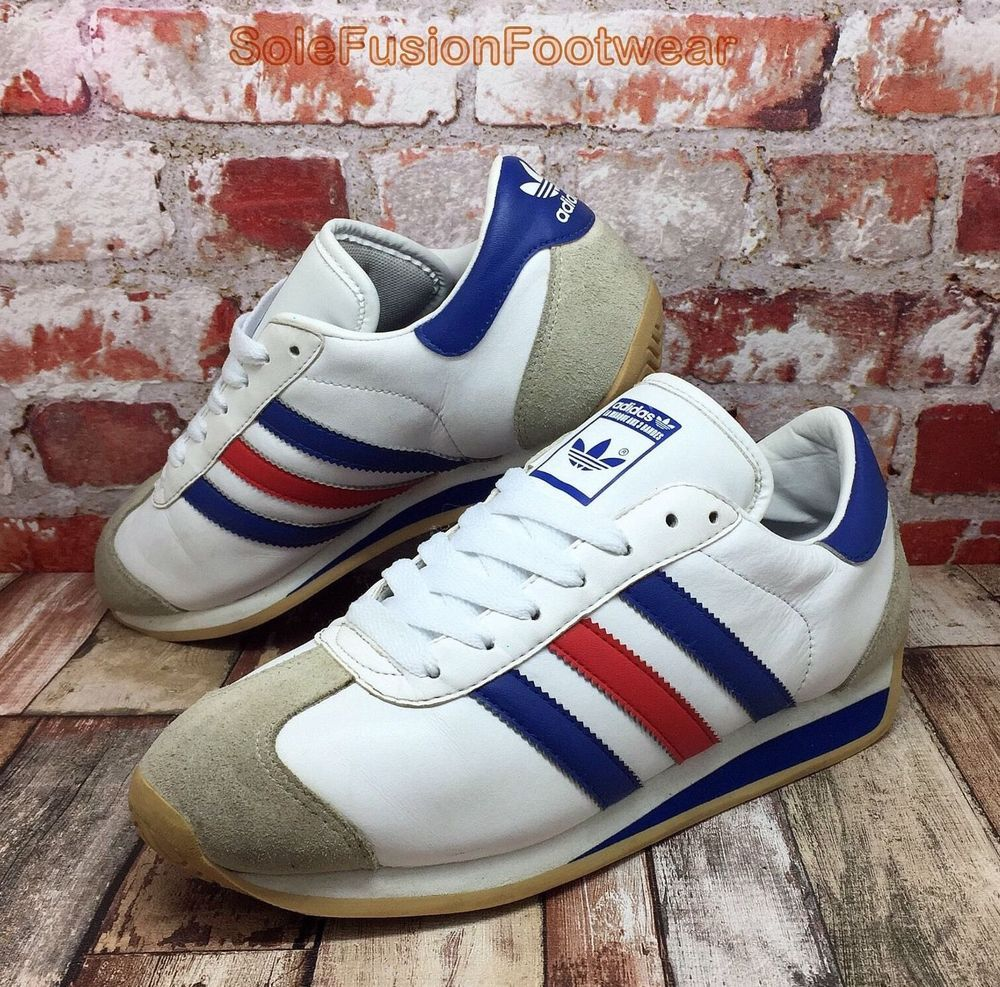 adidas Mens Country OG Trainers White/Blue size UK 6 Rare Sneakers US 6.5  39 1/3