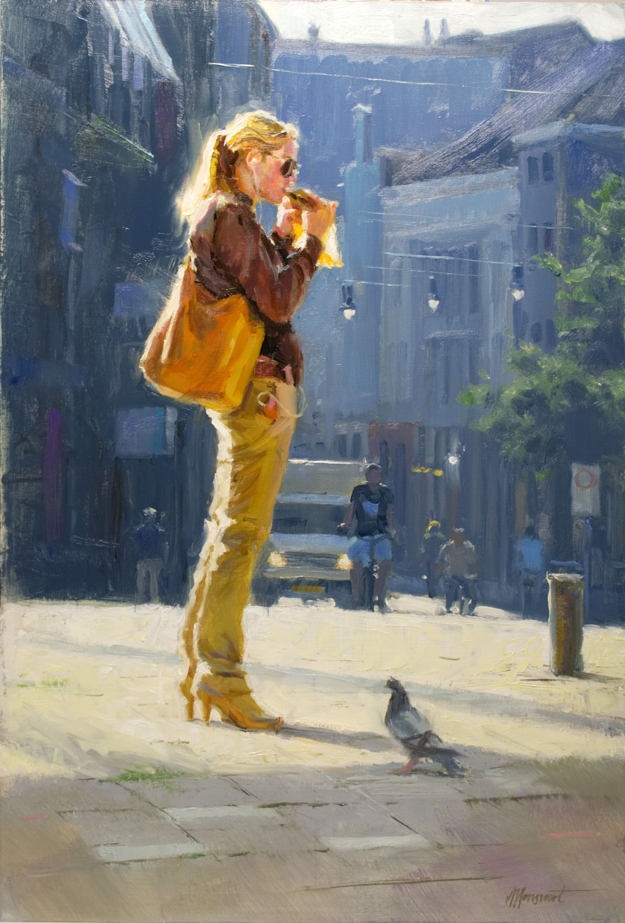 Quick lunch | oil on panel painting by Richard van Mensvoort
