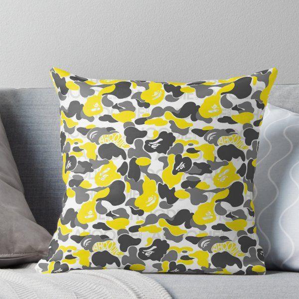 A Bathing Ape Camo Tee 2 Throw Pillow Throw Pillows Designer Throw Pillows Pillows