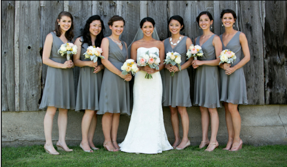 JCrew Grey Bridesmaid Dresses White Flowers With Soft Touches Of Yellow And Pink