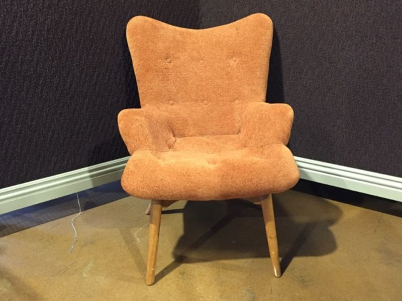 Contemporary Upholstered Arm Chair On Tapered Wood Legs