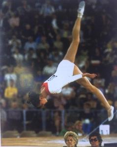 Rhythmic Gymnastics Dance With Russian National Flag Stock