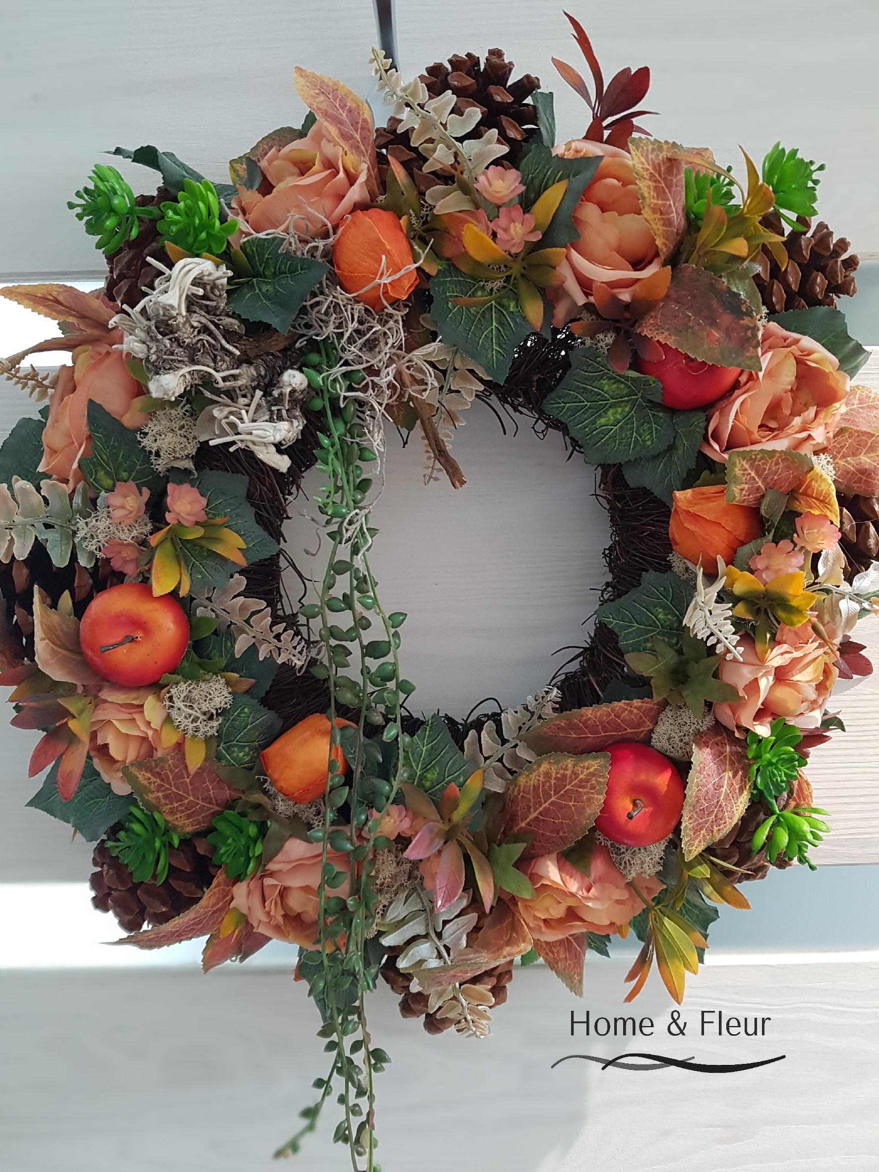 Ekskluzywny Wianek W Kolorach Jesieni 50 Cm 8413914633 Oficjalne Archiwum Allegro Christmas Wreaths Holiday Decor Fall Wreath