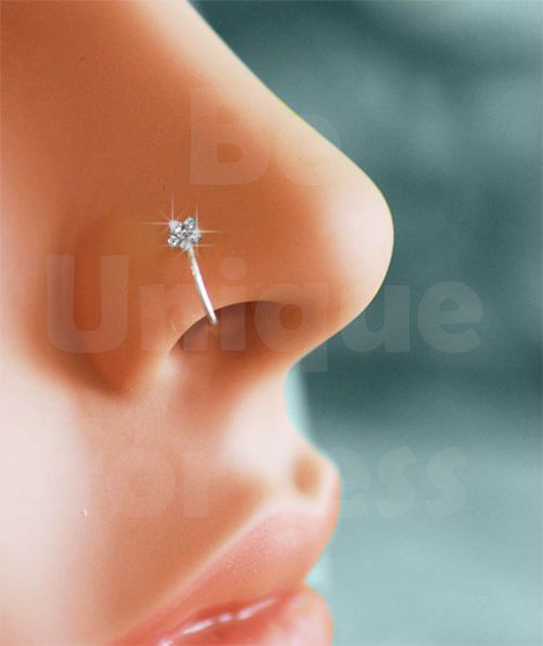 Details About Small Thin Flower Clear Crystal Nose Ring Stud Hoop