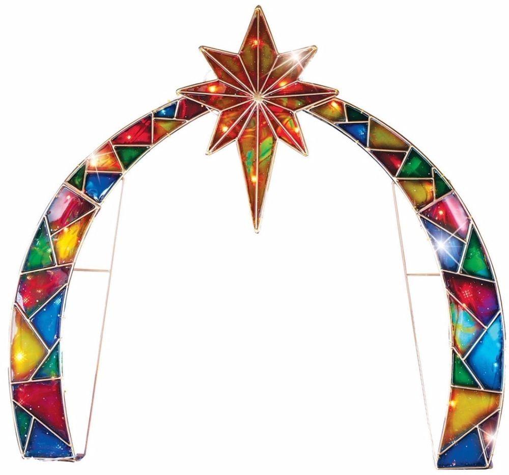 Lighted Mosaic Arch Star of Bethlehem Christmas Nativity