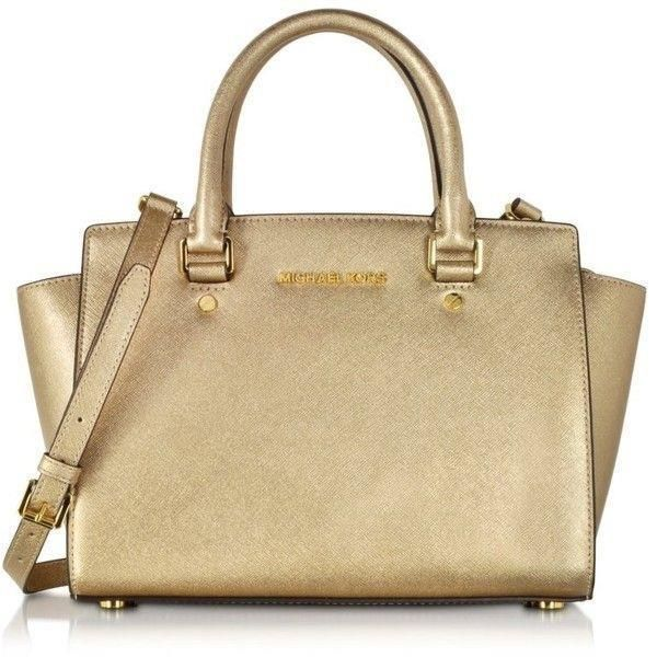 ac1f2c991ce9 Michael Kors Pale Gold Selma Large Saffiano Leather Satchel Shoulder Bag  Purse | eBay