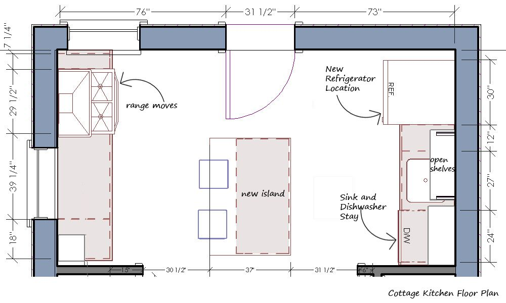 Brilliant Kitchen Layouts Plans Including Cottage And Kitchen Floor Plan  With Precise Measurements And Detail Furniture