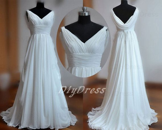 V-neck White Chiffon Beach Wedding Dresses,Sweep Train
