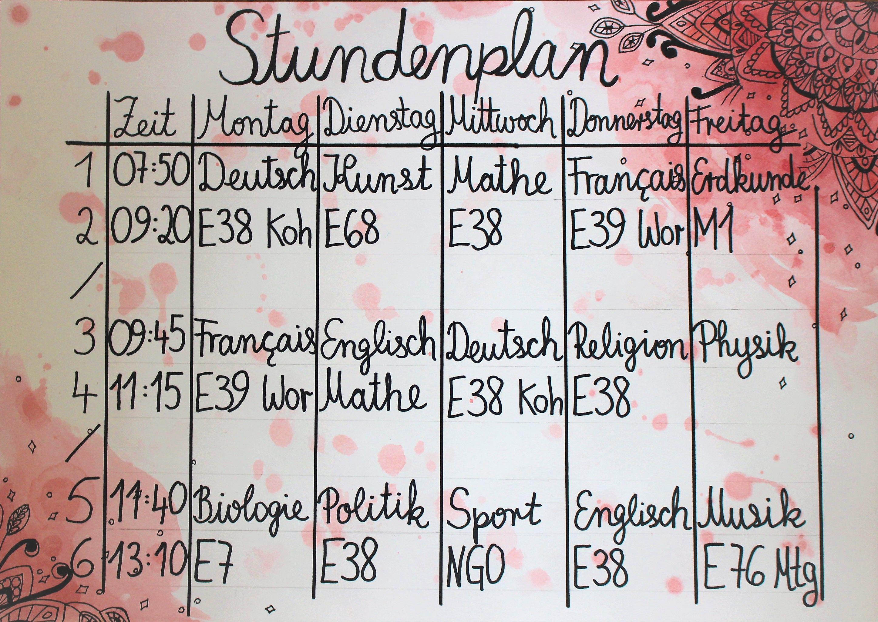 Pin Von Lotti Auf Watercolor Stundenplan Erdkunde Planer