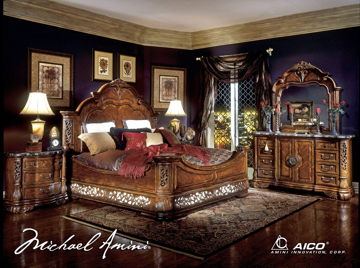 AICO Excelsior 4pc Queen Size Mansion Bedroom Set