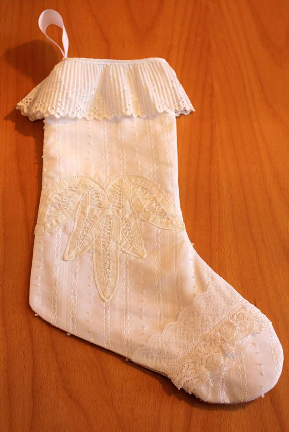 Victorian White Lacy Christmas Stocking Traditional Shabby Chic