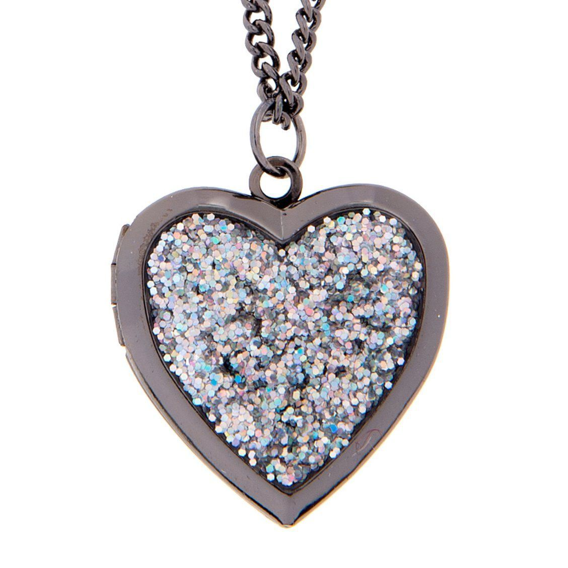 Glitter Heart Locket Pendant Necklace Let love sparkle and shine