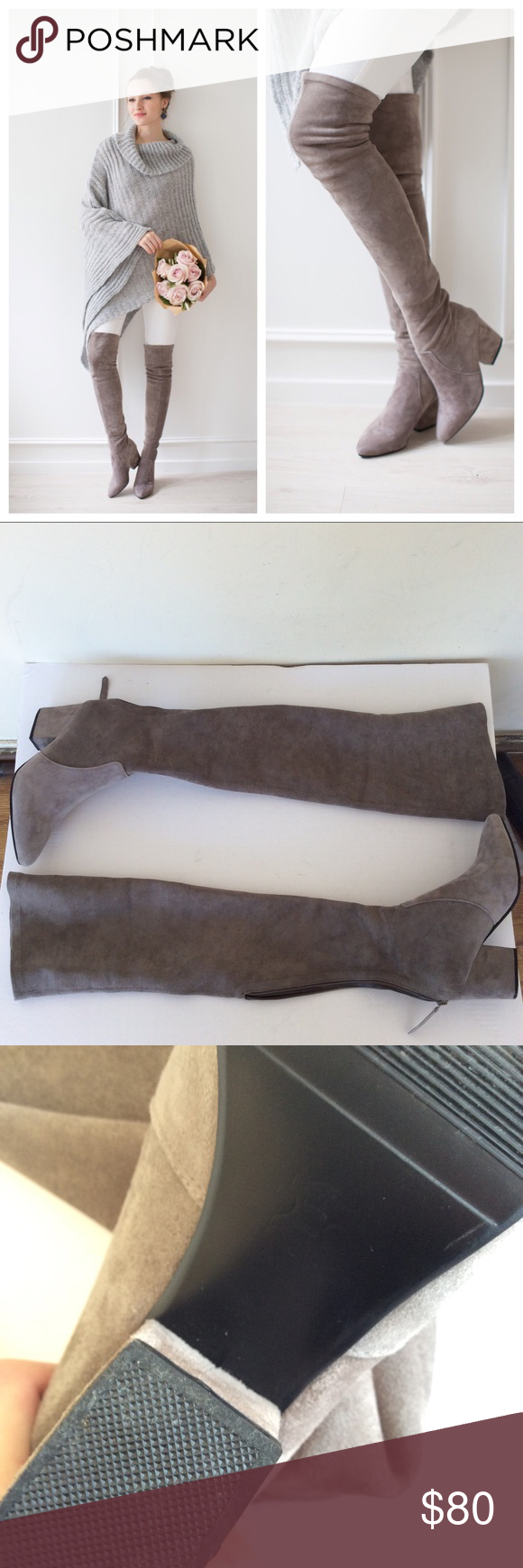 c5f6bc2c693 Goodnight Macaroon Carina Taupe OTK Boots Goodnight Macaroon  Carina  Taupe  Over The Knee Suede
