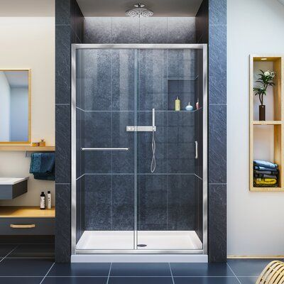 DreamLine Infinity-Z 48 x 72 Single Sliding Semi-Frameless Shower Door #framelessslidingshowerdoors