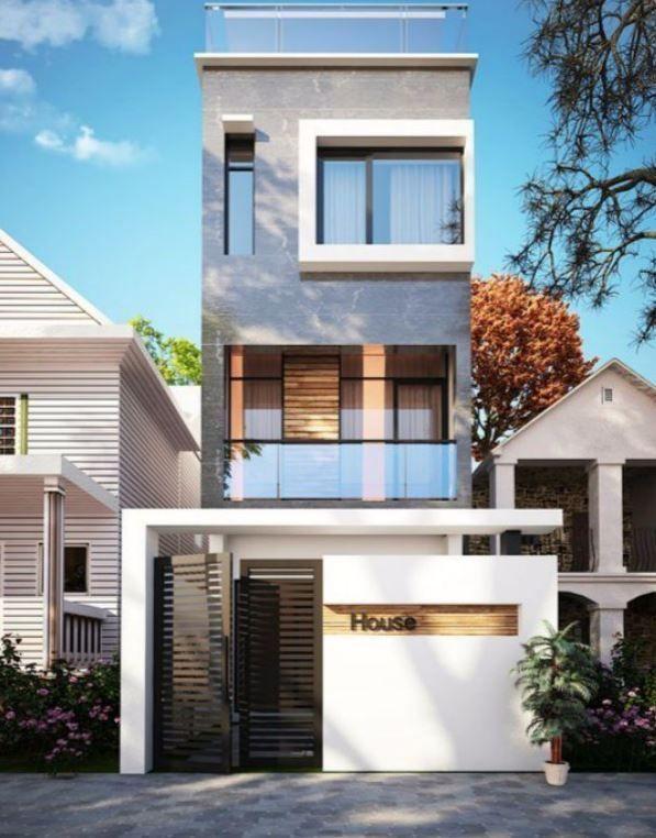 Fachadas de casas de 4 metros de ancho #casasminimalistasideas - casas minimalistas