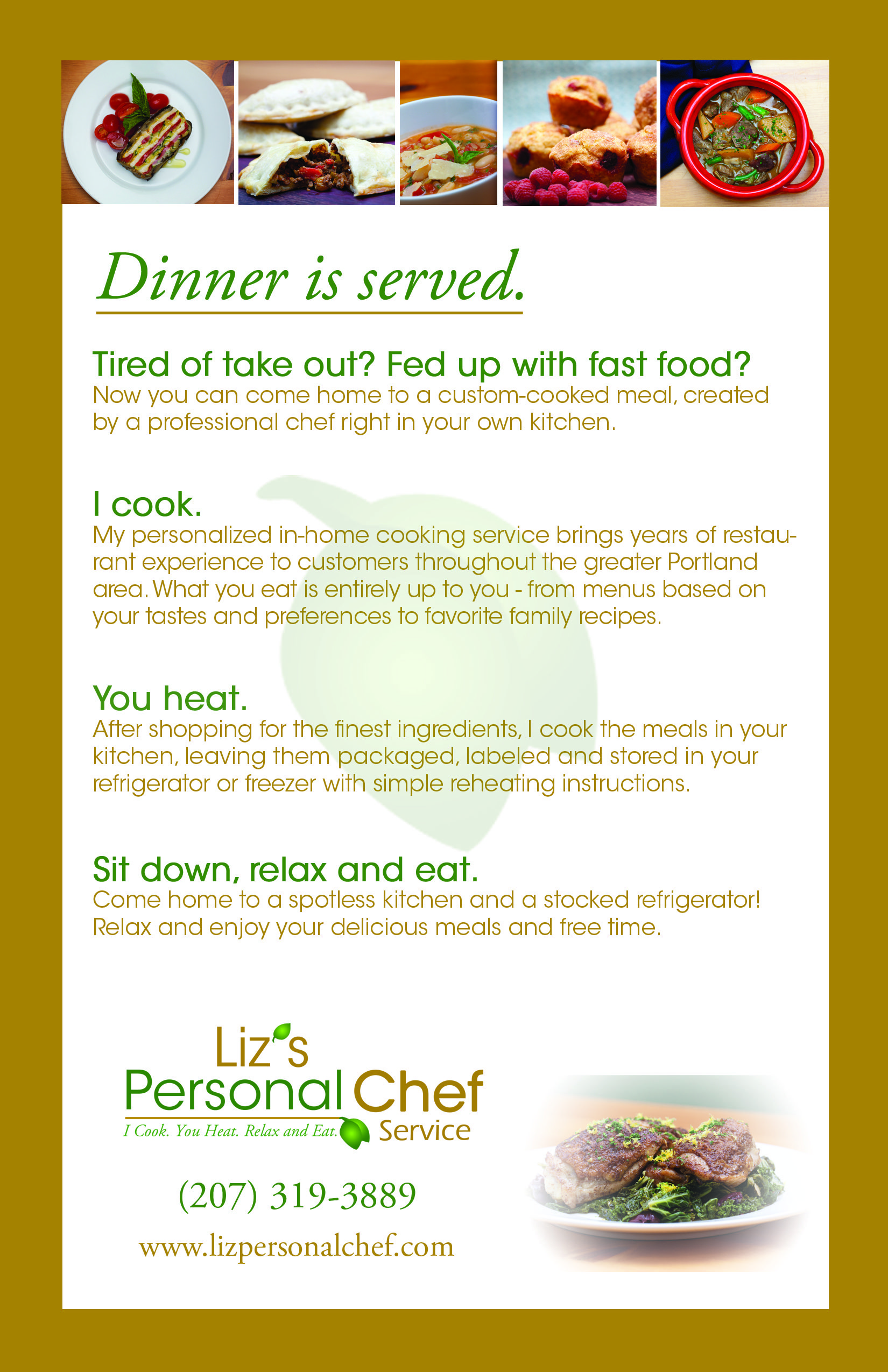 Brochure Post Card For Liz S Personal Chef Service Artwork By Graycatmarketing Com Personal Chef Business Personal Chef Service Personal Chef