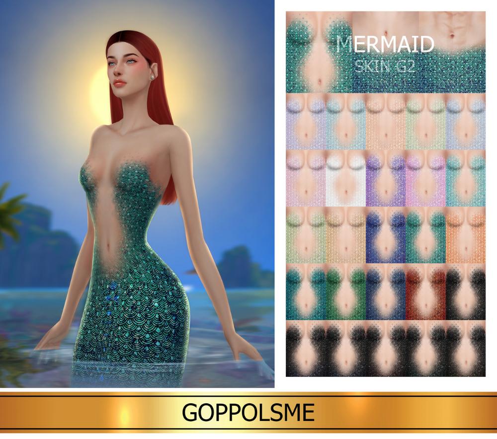 GOPPOLS Me Mermaid skin, Sims 4 wedding dress, Sims 4