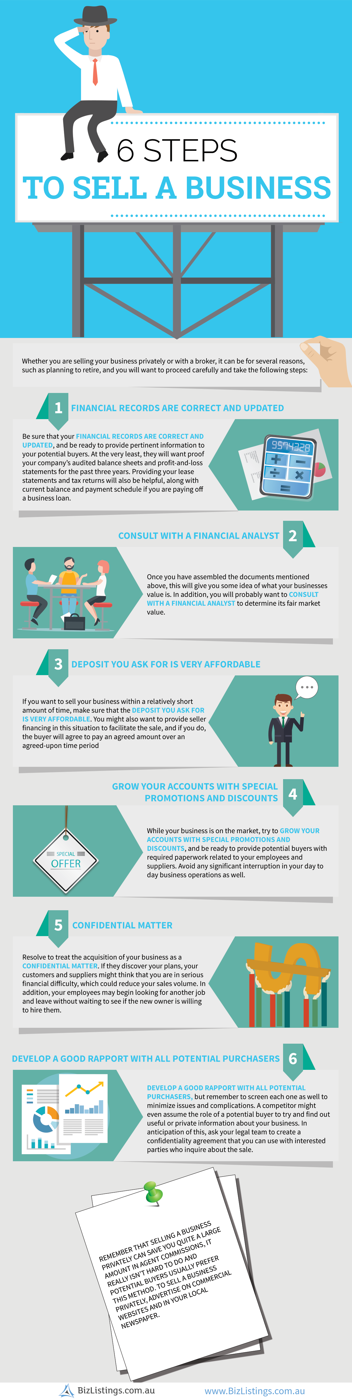 6 Steps to Sell a Business #infographic