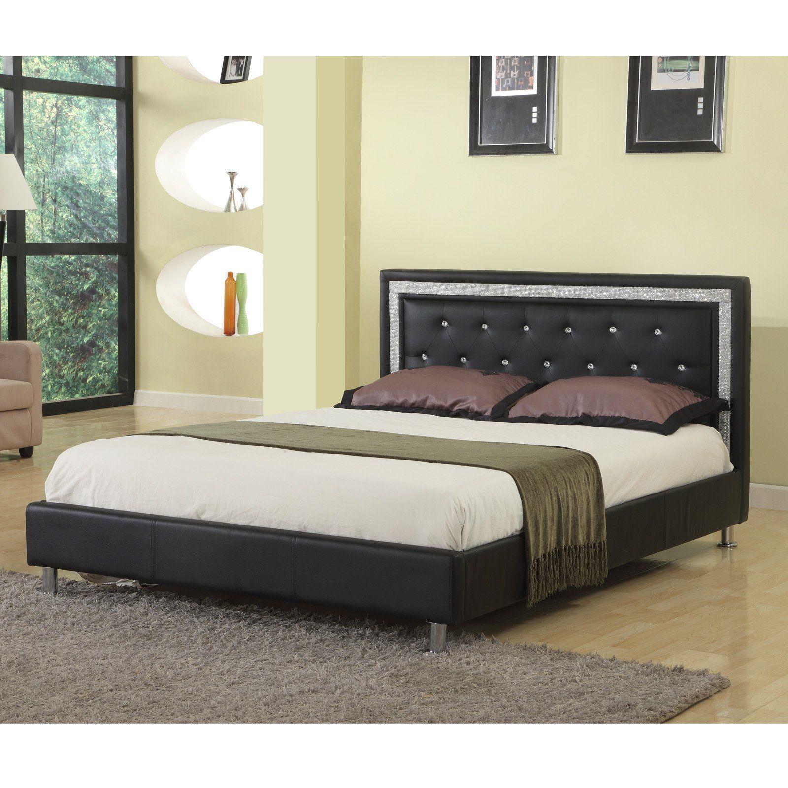 Best Master Furniture Faux Leather Platform Bed Black