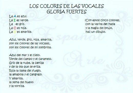 Los Colores De Las Vocales Gloria Fuertes Apprendre Les