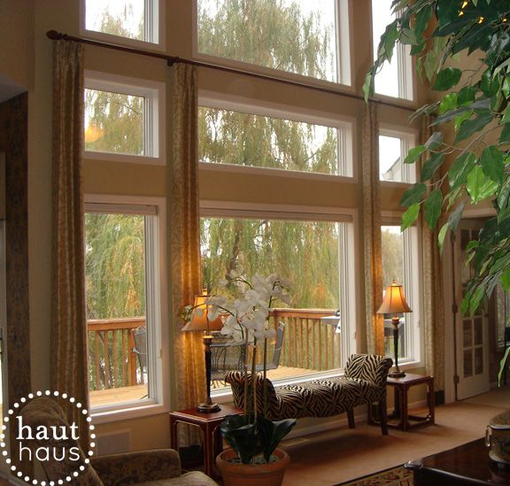 Window treatments for great room windows two story - Living room picture window treatments ...