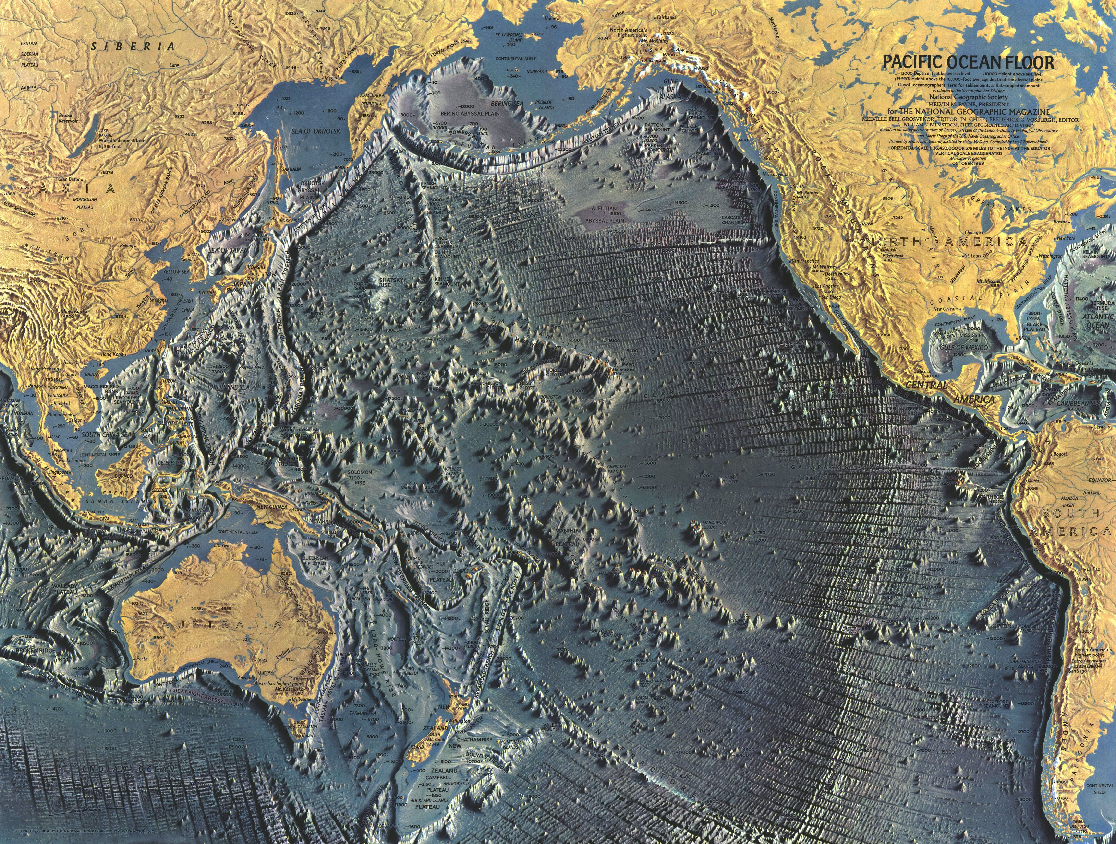 A Detailed Map Of The Pacific Ocean Floor 1969 Geographie
