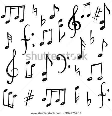 Music Notes And Signs Set Hand Drawn Music Symbol Sketch Collection