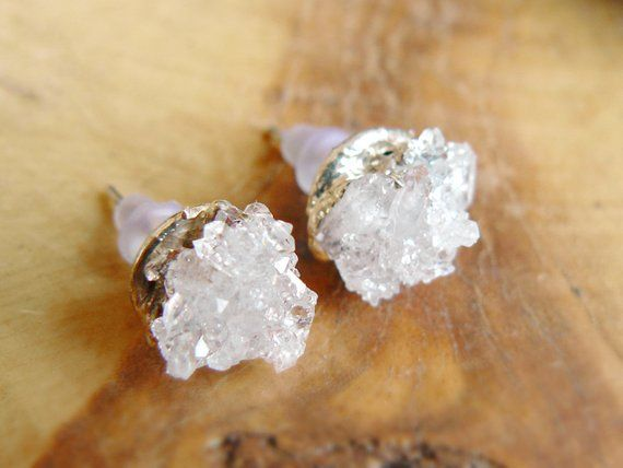 Photo of Raw quartz druzy stud earrings_copper electroformed_raw crystal earrins_natural stone_ice crystal earrings_semiprecious stones jewelry_OOAK