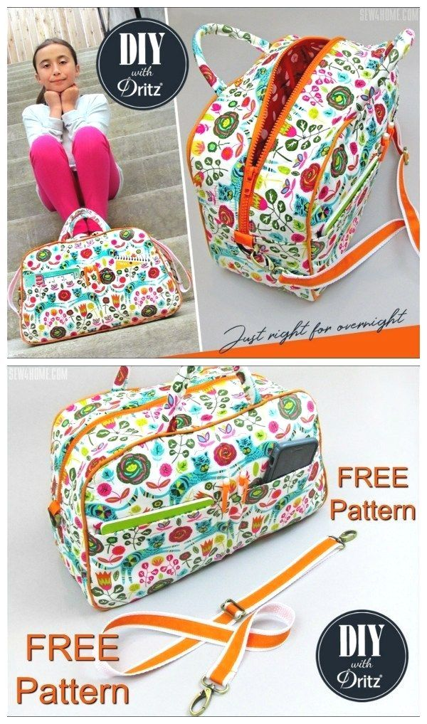 Free duffle bag or bowling style bag sewing pattern Small purse size or kids size duffle bag pattern