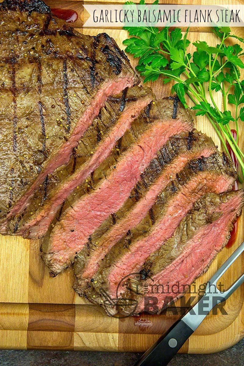 This is a great marinated flank steak recipe for garlic lovers. Whether you make it on the outside grill or indoors in the broiler, it tastes great. #recipesforflanksteak