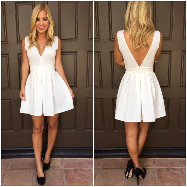 Deep V Tea   Crumpets Dress - WHITE  d609ea1c8