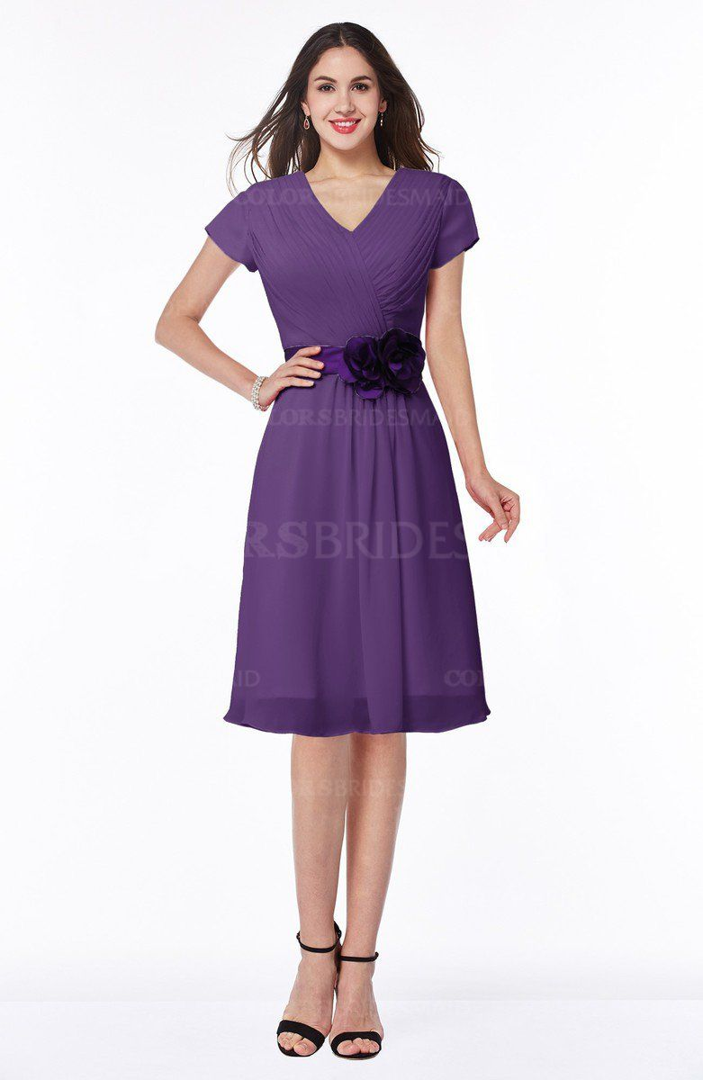 Dark Purple Classic V-neck Short Sleeve Chiffon Knee Length ...