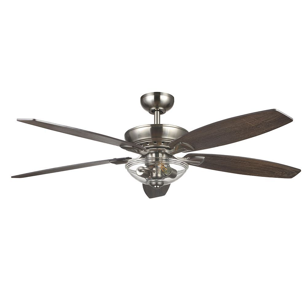 Home Decorators Collection Connor 54 Inch Led Brushed Nickel Dual Mount Ceiling Fan With L The Home Depot C Ceiling Fan Home Decorators Collection Ceiling