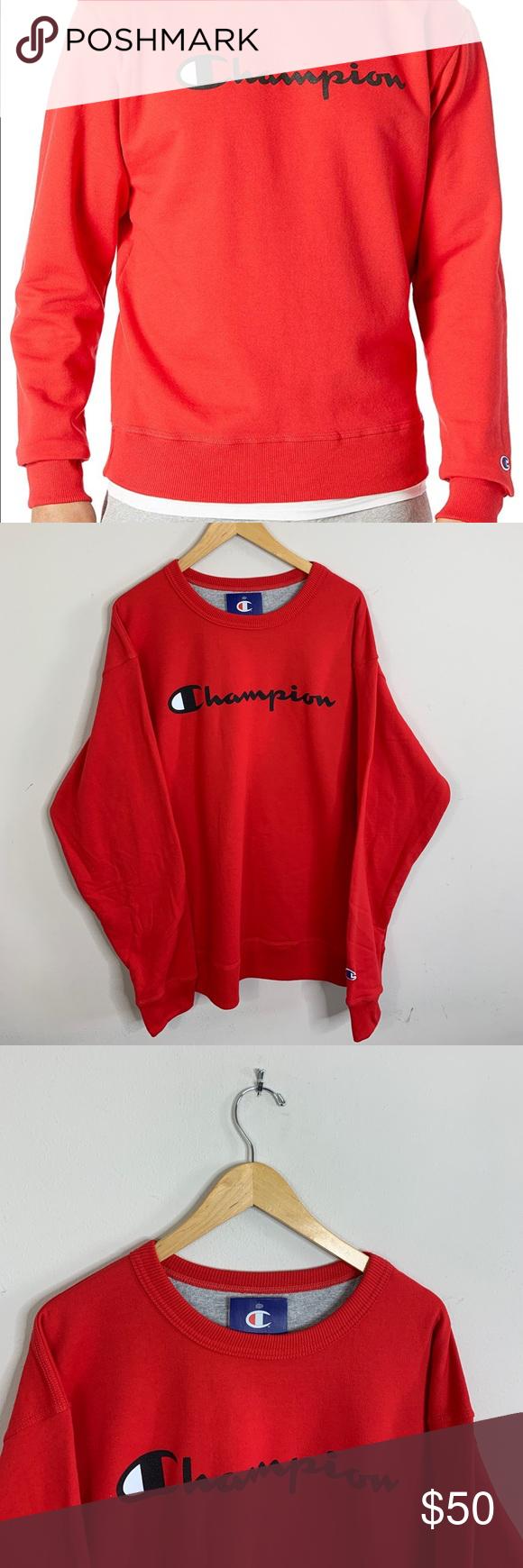 Champion Crewneck Sweatshirt Big Script Logo Red Champion Crewneck Sweatshirt Champion Crewneck Sweatshirts [ 1740 x 580 Pixel ]