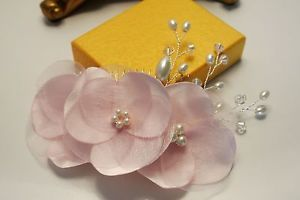 Pale Pink Flower Pearl  Hair Comb Bridal Headpiece Bridesmaid  Fascinator Ivory