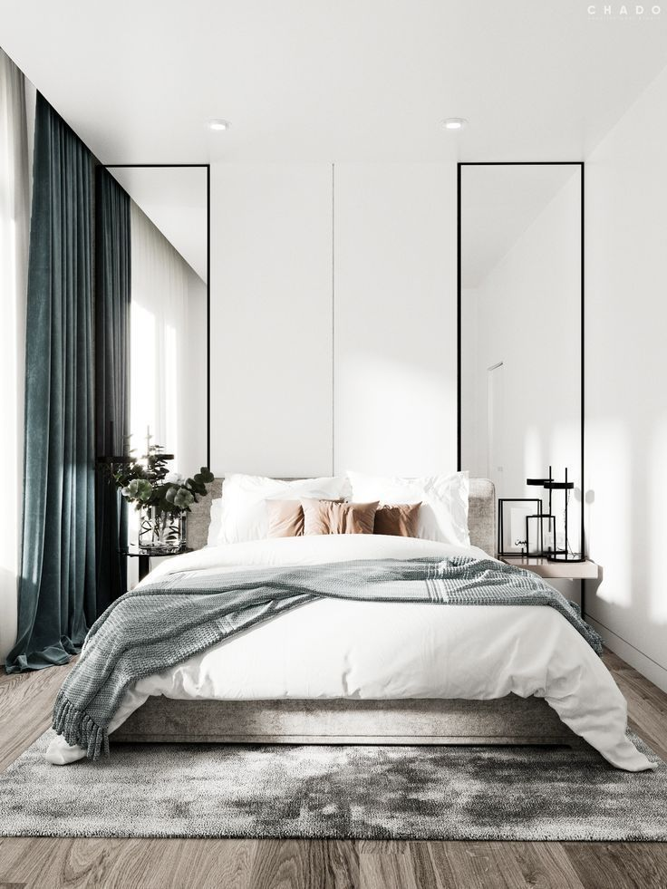 Modern Scandinavian Bedroom With A Luxurious Touch Of Velvet Fabrics Modern Bedroom Design Bedroom Interior Bedroom Design