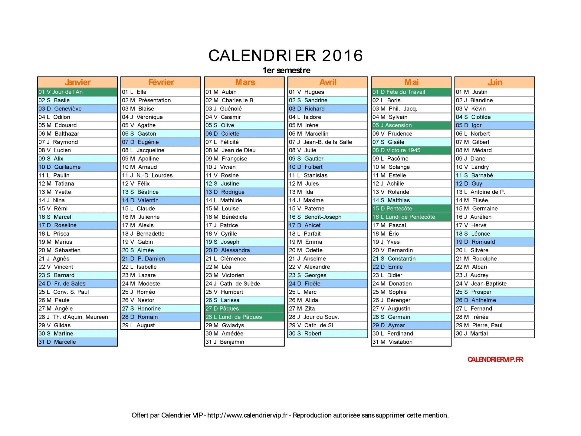 Calendrier 2020 Avec Jours Fériés Vacances Scolaires à Imprimer.Calendrier 2016 Avec Jours Feries Vacances Scolaires