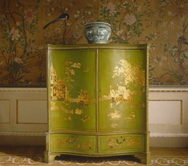 View of green and gold lacquer chinoiserie furniture in the State Bedchamber at Nostell Priory, West Yorkshire