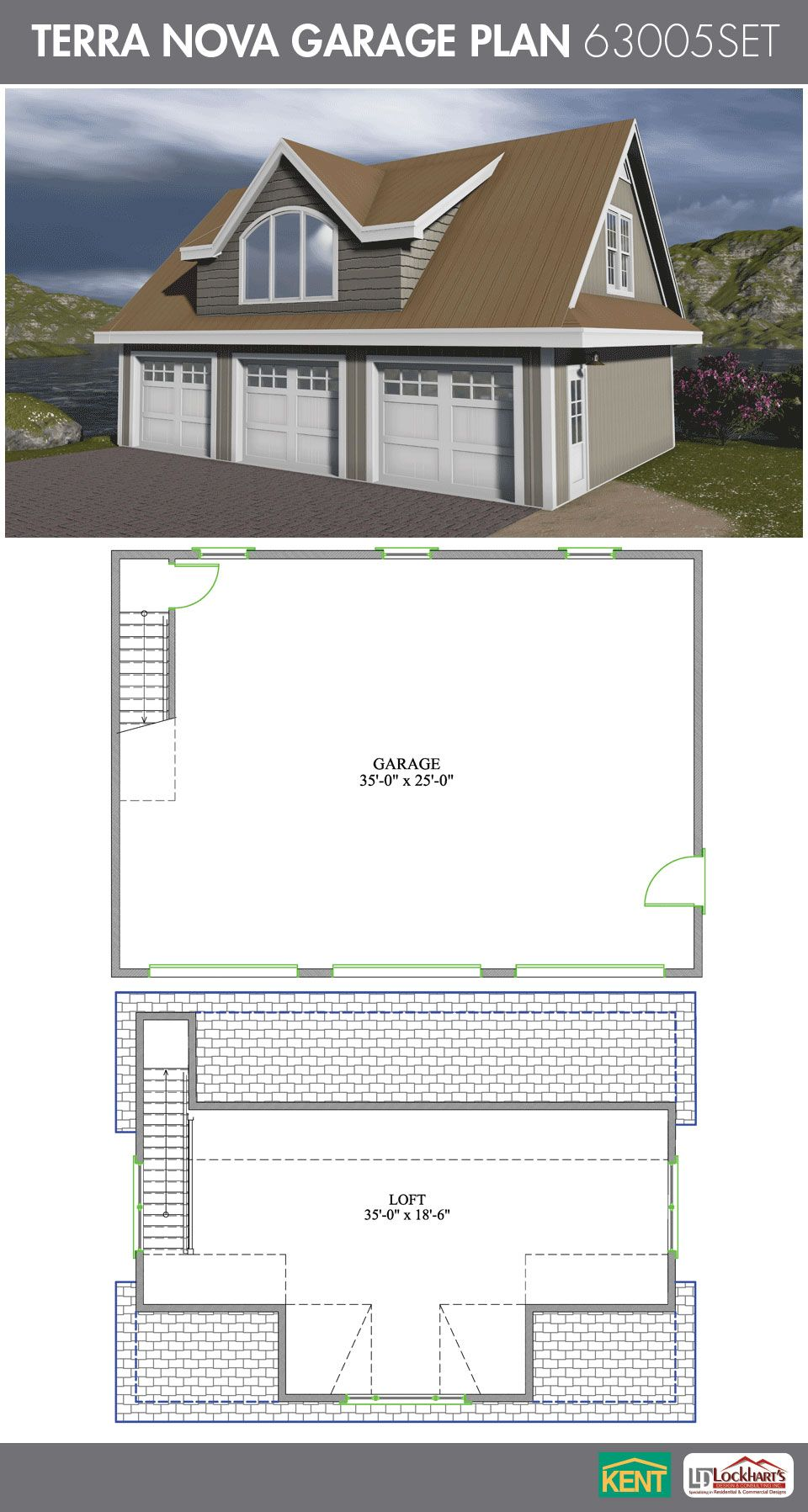 Terra nova garage plan 36 39 x 26 39 3 car garage 570 sq for Garage plans with bonus room