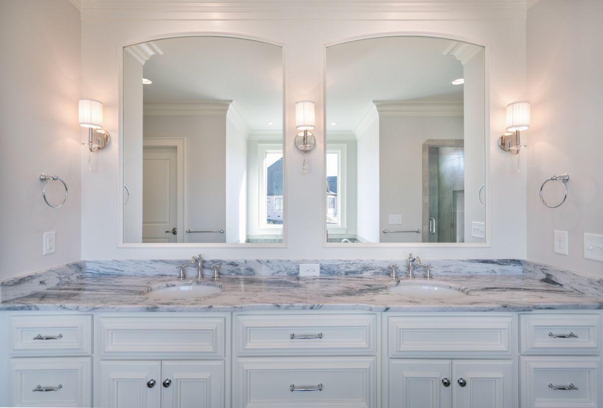 White And Marble Master Bath Vanity Love How Light And Airy This Space Is Custom Built Homes Custom Homes Home