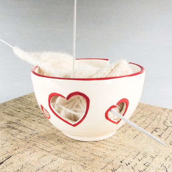 PRE-ORDER, Ceramic Yarn Bowl, Knitting Crochet bowl, White Bright Red rim Heart handmade bowls ceramics knitting supplies  cp, Made to ORDER