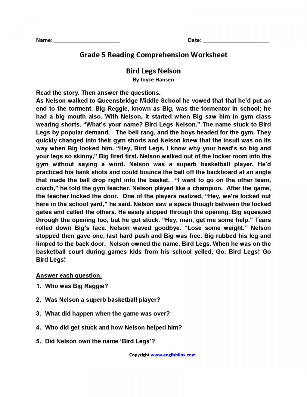 16+ Reading Worksheets For 5Th Grade With Answer Key in ...