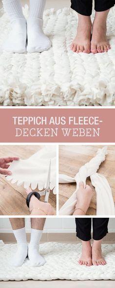 diy anleitung upcycling teppich aus fleece decken weben via teppiche. Black Bedroom Furniture Sets. Home Design Ideas