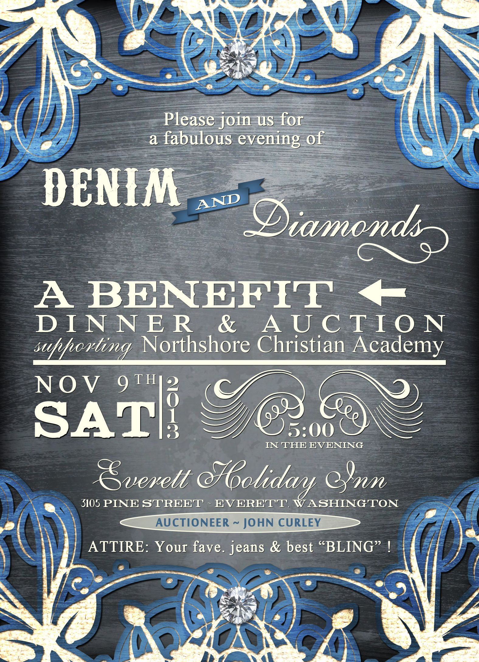 Invitation Wedding Dress Code Denim And Diamonds | Mccs Auction Ideas | Denim, Diamonds