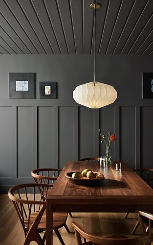 Orikata Modern Saucer Pendants - / love the dark walls #modern kitchen