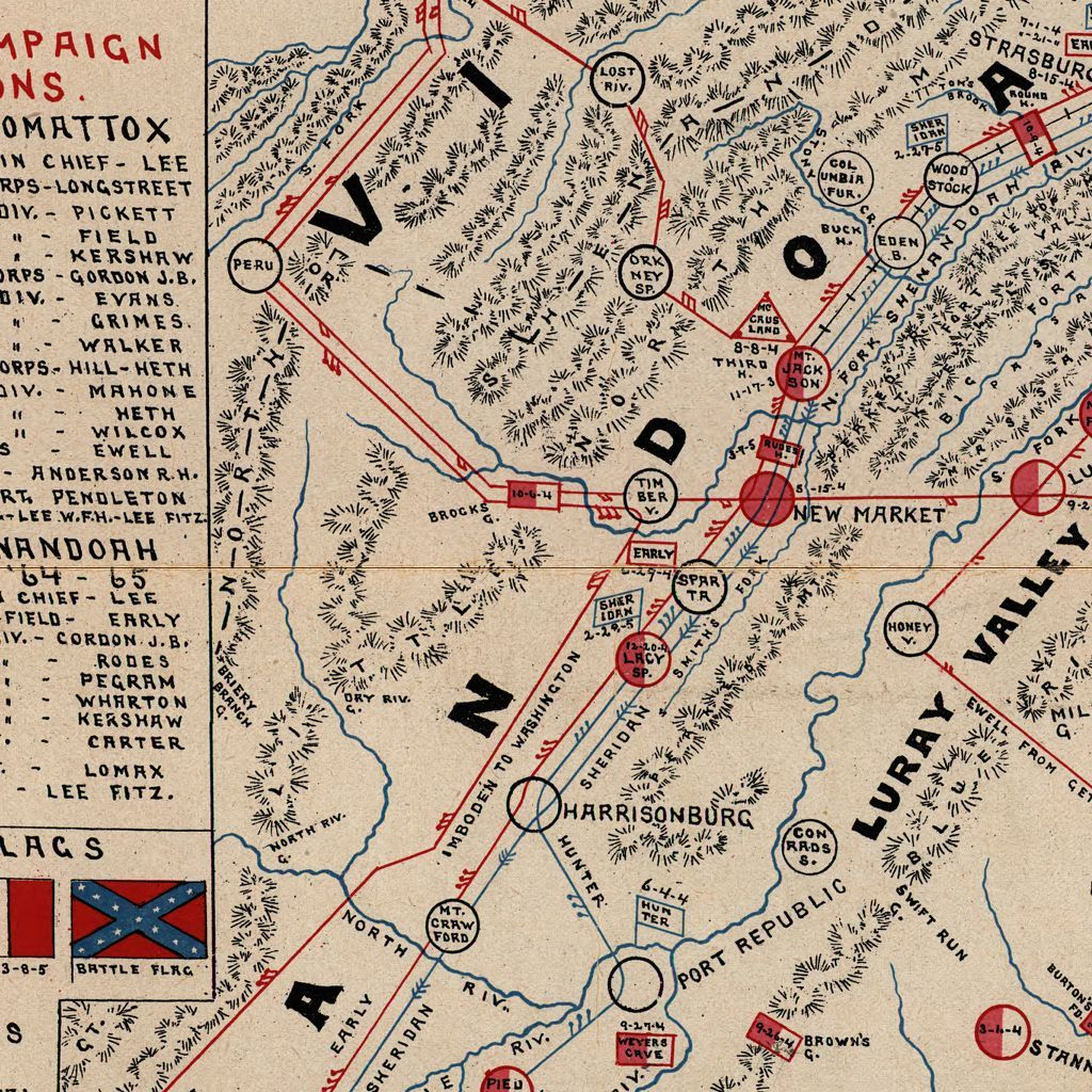 Map Of The Main Battlefields Routes Camps And Head Qrs In The - Appomattox us map