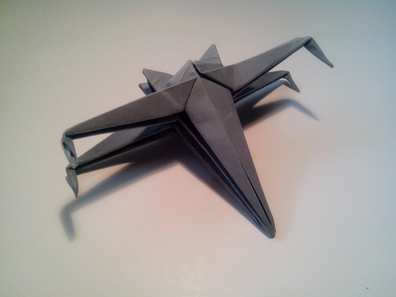 como hacer una nave de star wars de origami sencilla (x-wing