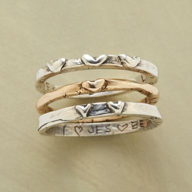 THOUGHTFUL LIFE RING TRIO -- Jes MaHarry's bas-relief heart bands, two in sterling silver, one 14kt gold. Etchings of meaningful phrases urge a mindful existence. Exclusive set of 3. Handmade in USA. Whole sizes 5 to 9.