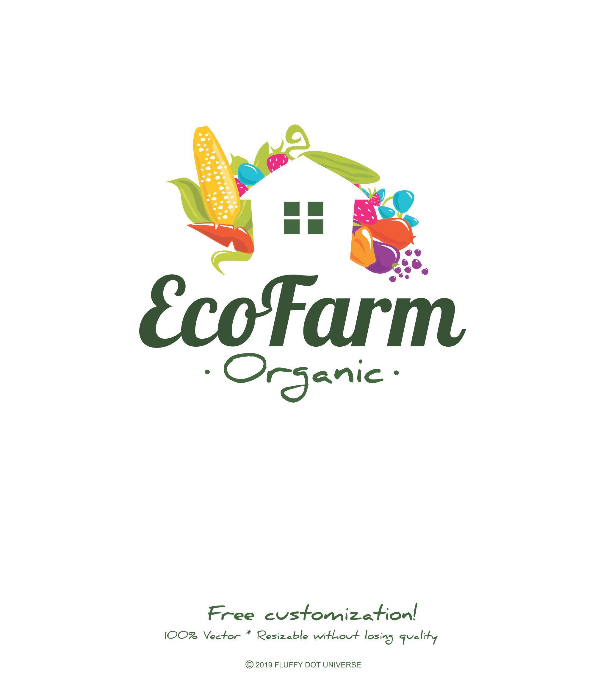 Eco Farm Logo Green Logo Organic Farm Logo Fruit Logo Etsy Farm Logo Fruit Logo Farm Logo Design